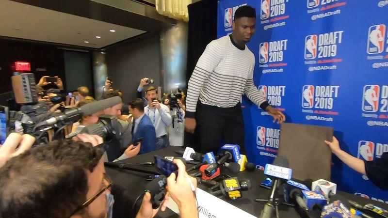 Zion Williamson enters NBA Draft Media Day in Manhattan. (Source: Juan Kincaid, FOX 8)