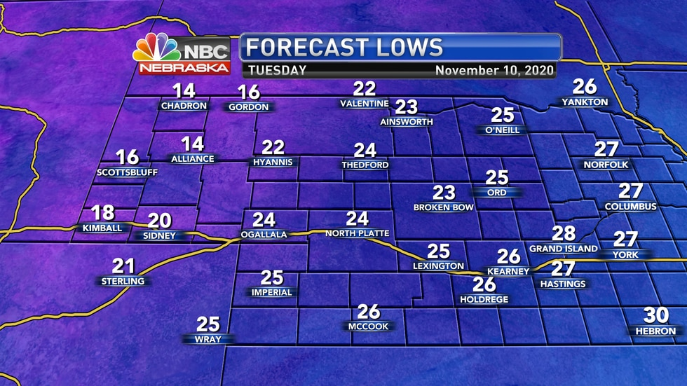 Temperatures should fall to the mid 20s for most of Greater Nebraska into Tuesday morning.