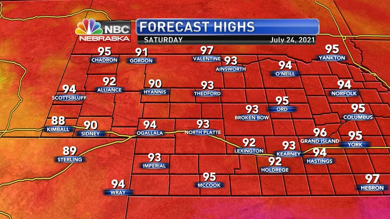 Temperatures on Saturday should reach the low to mid 90s across western Nebraska.