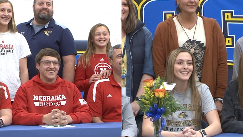 (Left) Elliott Purdy committed to the University of Nebraska track and field team. (Right)...