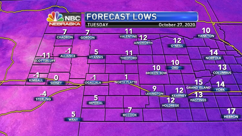 Record lows are expected into Tuesday morning.