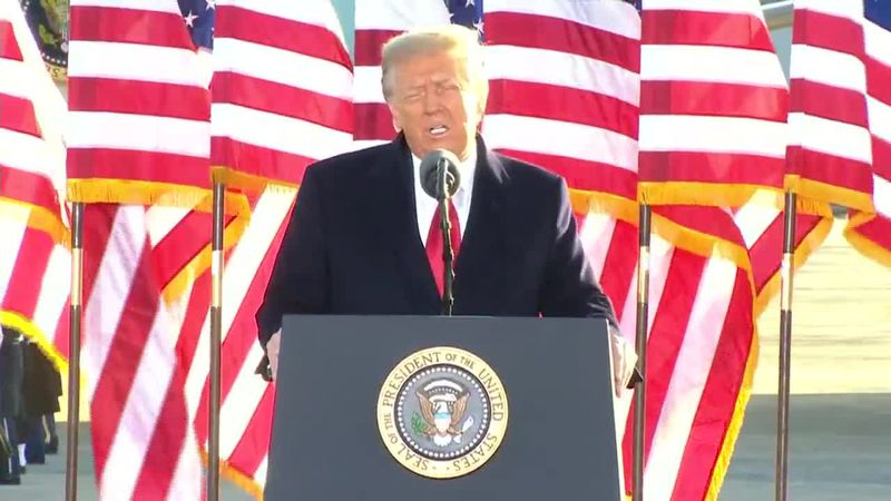 President Donald Trump bids the nation farewell as he leaves Washington, D.C. on Inauguration...