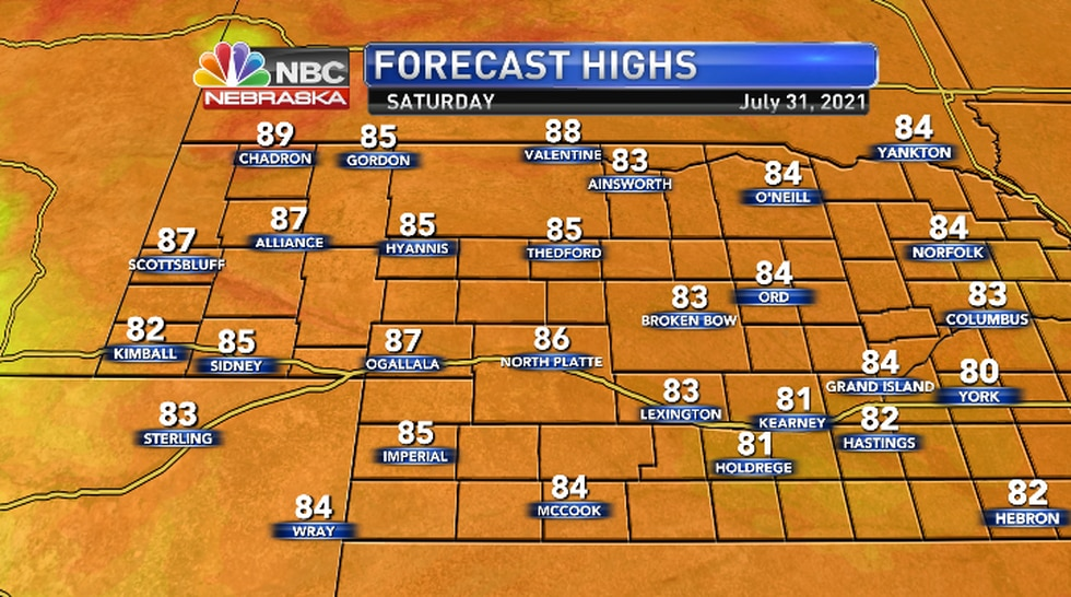 Cooling down into the 80s through the weekend..