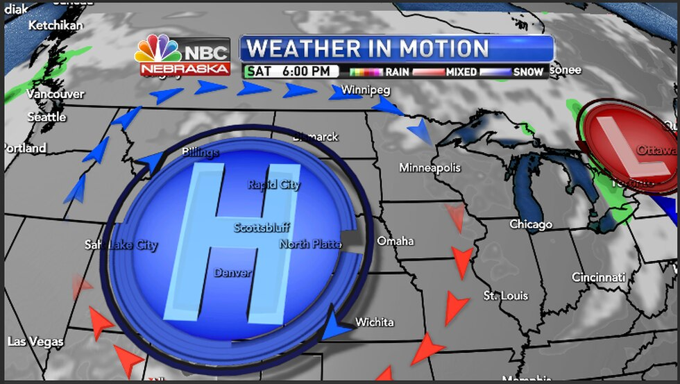 High pressure dominating the weather pattern