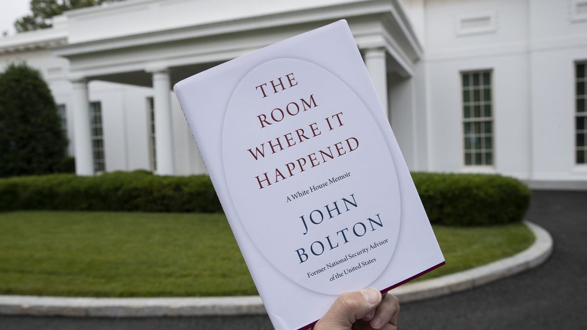 """A copy of """"The Room Where It Happened,"""" by former national security adviser John Bolton, is photographed at the White House, Thursday, June 18, 2020, in Washington."""