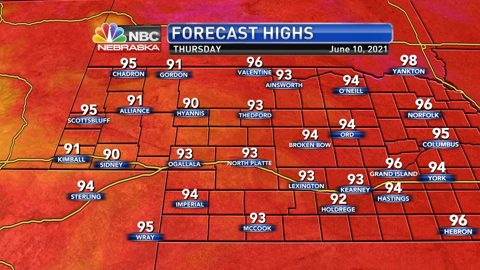 Temperatures on Thursday should generally sit in the low to mid 90s across the area.