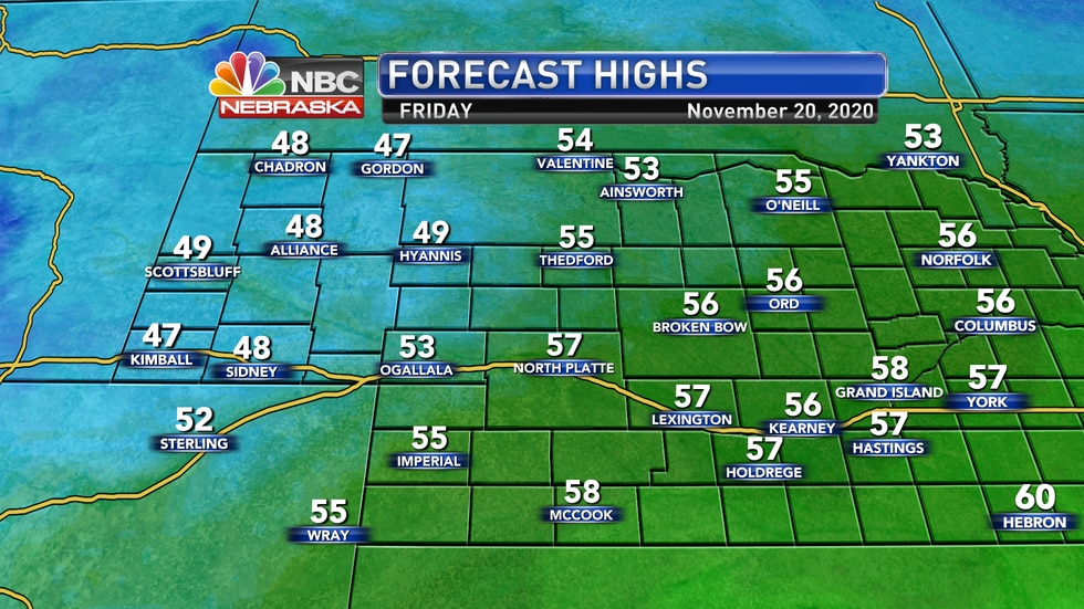 Cooler temperatures are expected for Friday, but most areas should still see above average...