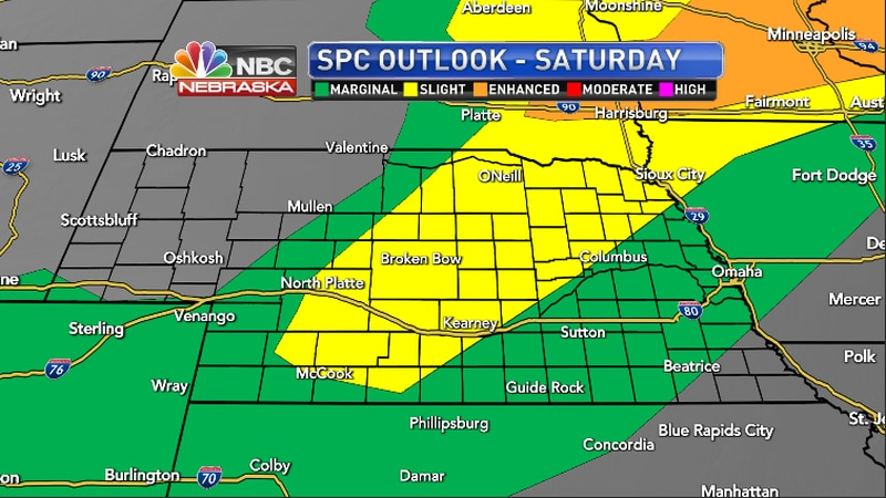 Portions of the region under a marginal to slight chance of severe weather