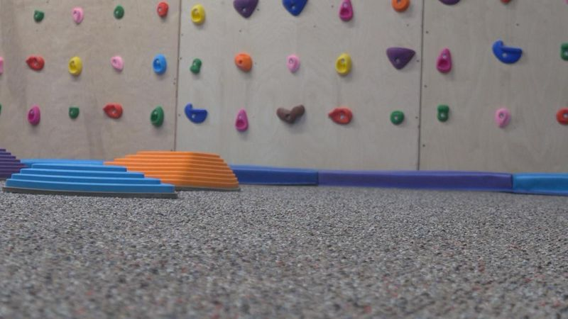 The climbing wall is just one of several additions to the North Platte Area Children's Museum.