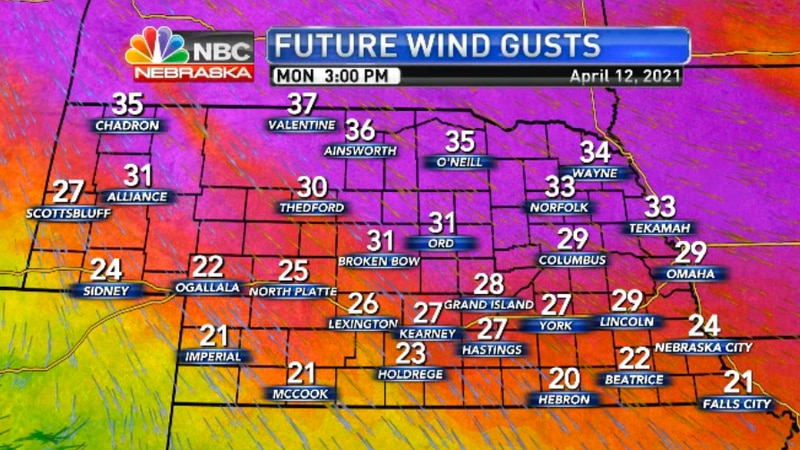 Gusty conditions continue on Monday.