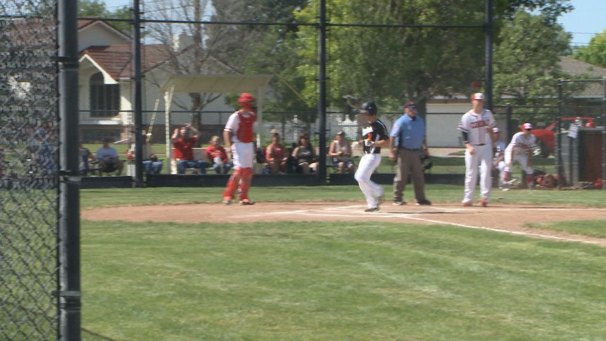 Lane Blackwell scores a run in the second game against Cozad on Saturday afternoon. (Credit:Sam Pirozzi/KNOP-TV)