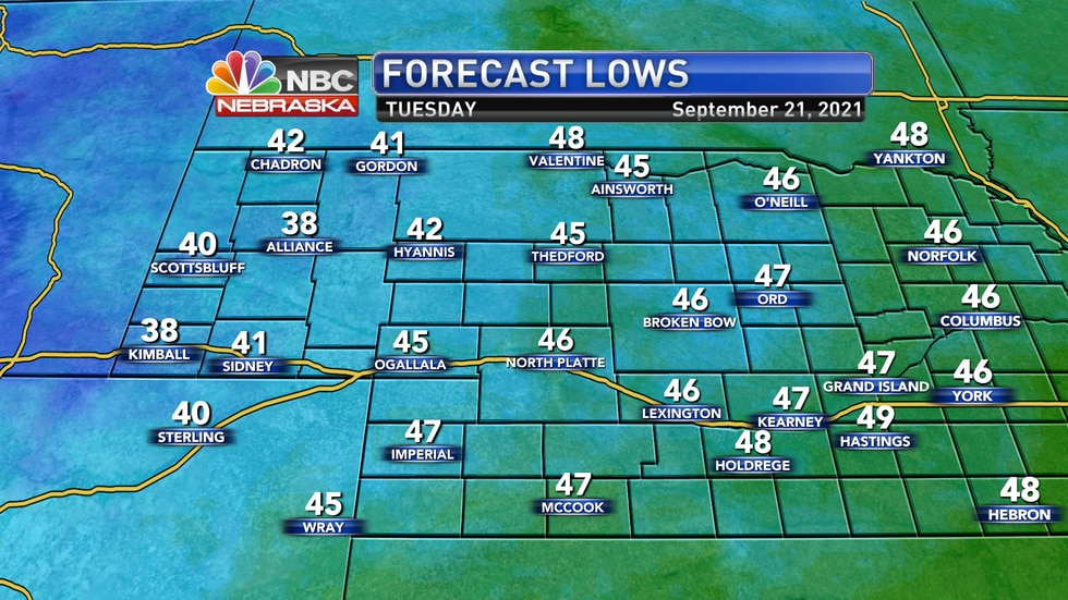 Chilly temperatures in the 30s and 40s are forecast into Tuesday morning.