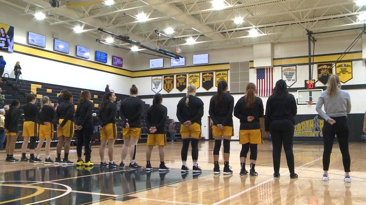 NPCC women's basketball stands during the National Anthem before Saturday's game. The Knights fell to the Storm 56-52. (Credit: Patrick Johnstone/KNOP-TV)
