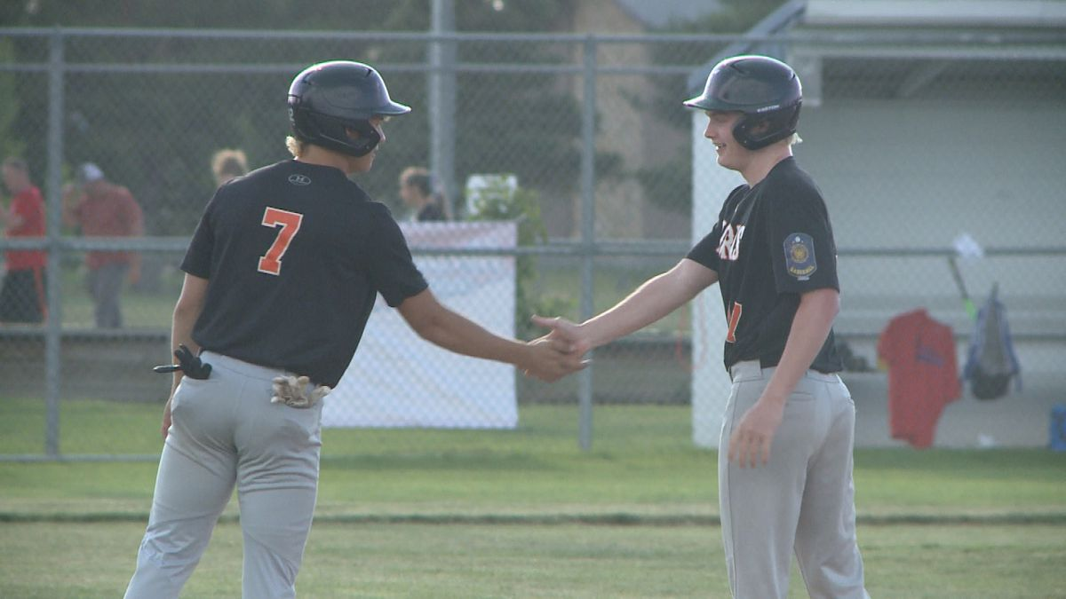 Imperial's Hunter Garner (R) celebrates after driving in a run in the Horns' game against Hershland Thursday. (Credit: Patrick Johnstone/KNOP-TV)