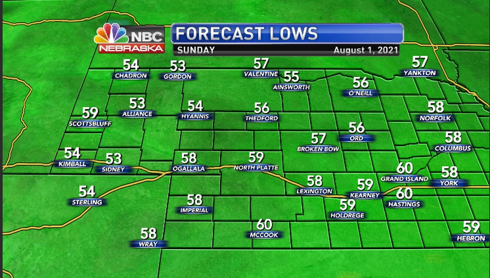Lows for Saturday night