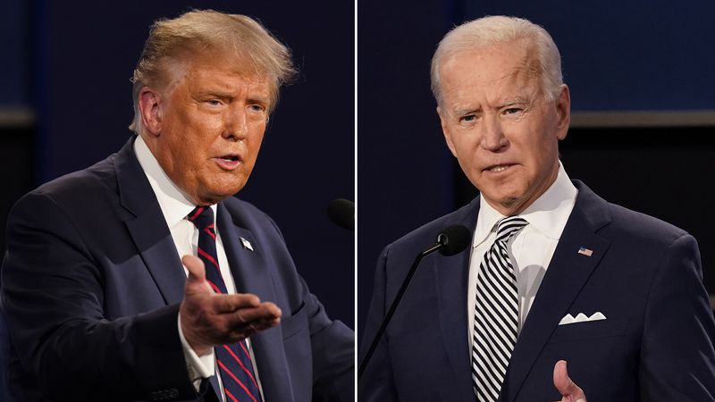 FILE - This combination of Sept. 29, 2020 file photos shows President Donald Trump and former...