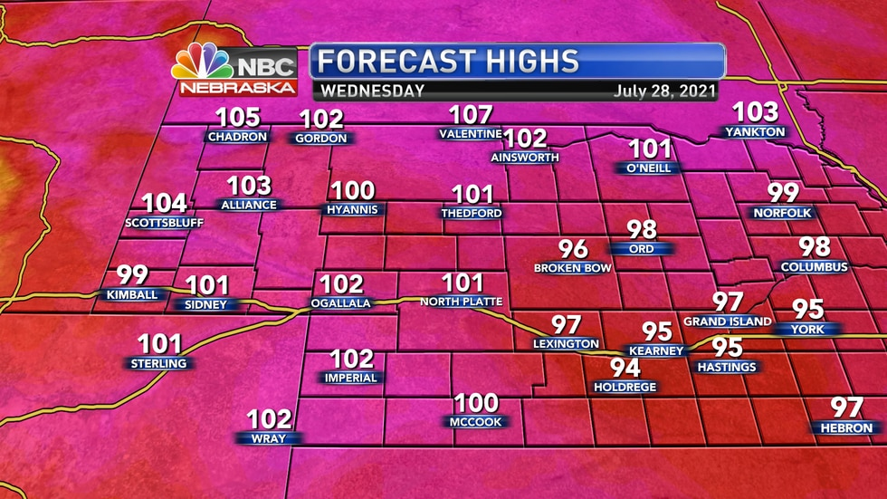 Actual air temperatures on Wednesday will be into the lower 100s for much of western Nebraska.