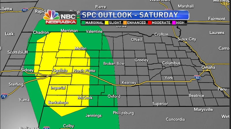 Storm Prediction Center has the area highlighted under a marginal to slight chance of severe...