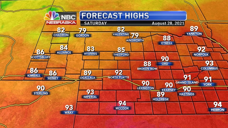 Temperatures by Saturday afternoon should reach the low 80s to low 90s.
