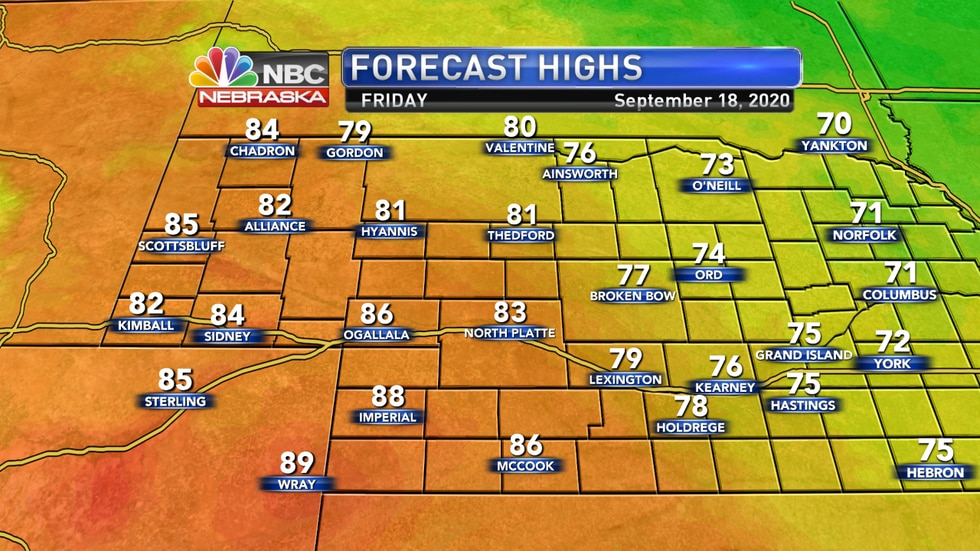 More sunny - but hazy - conditions are expected Friday with highs in the upper 70s to upper 80s.