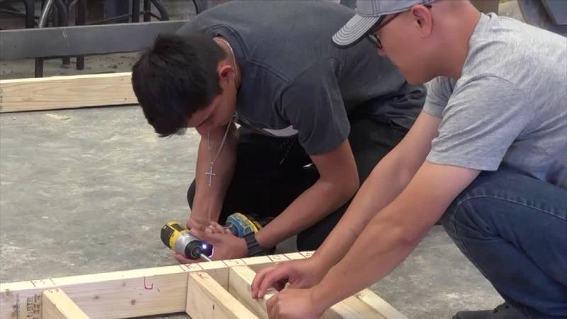 MPCC student learns how to frame a house.