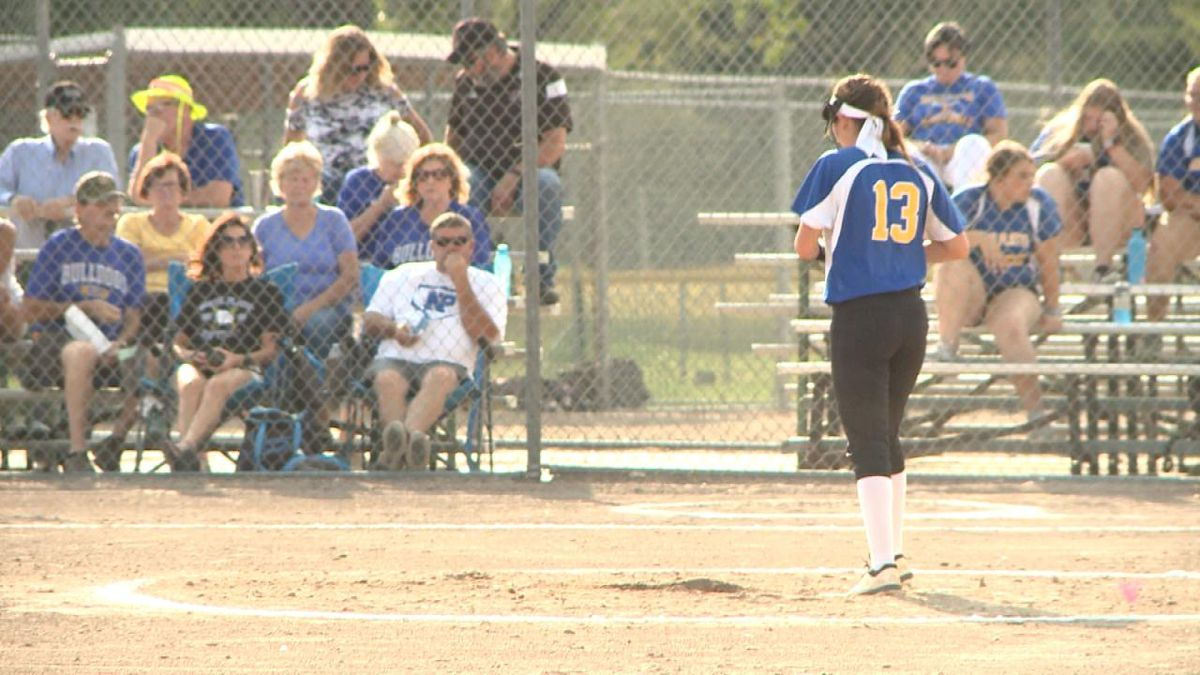 North Platte pitcher Tatum Montelongo pitches against Lexington in game one of a doubleheader. Montelongo did not allow a run in the three inning, 12-0 victory (Credit: Patrick Johnstone/KNOP-TV)
