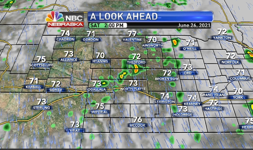 Scattered thundershowers will drift south Saturday afteroon/early evening.