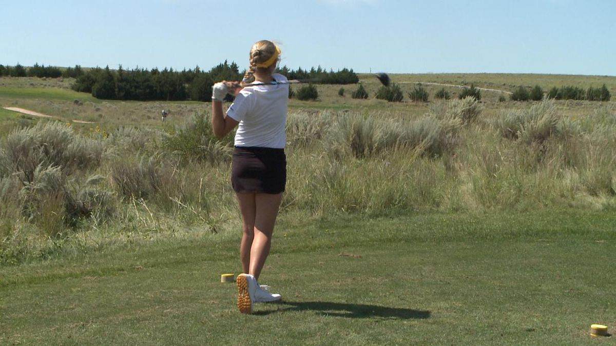 Maya Lashley shot 84 at the Pius X Shoot-Out Tuesday, as part of a record-breaking team performance (Credit: Patrick Johnstone/KNOP-TV)