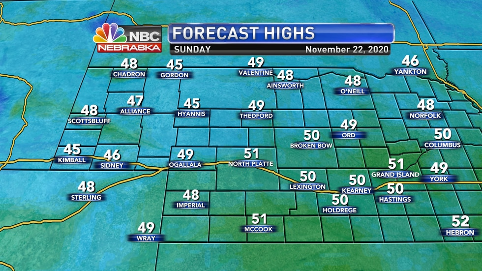 Sunny skies with highs in the 40s to low 50s are expected for Sunday to finish the weekend.
