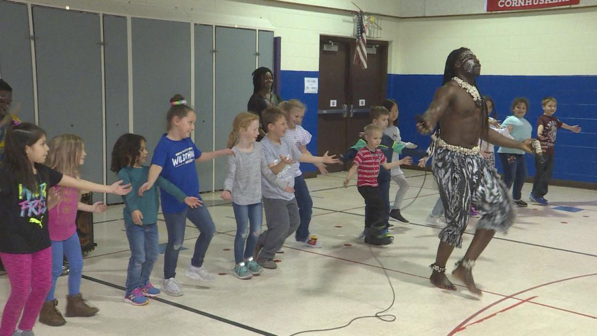 Students at Jefferson enjoy show from the African Dance Troupe. (SOURCE: Kaylie Crowe KNOP-TV)-