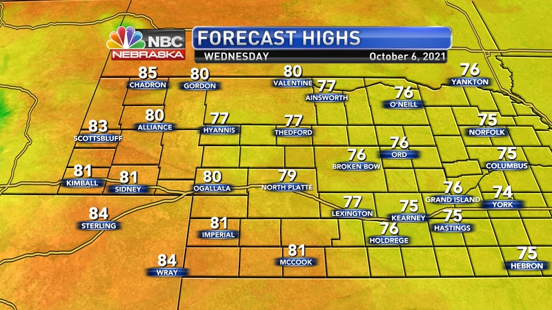 Temperatures stay above average on Wednesday afternoon with highs in the mid 70s to mid 80s.