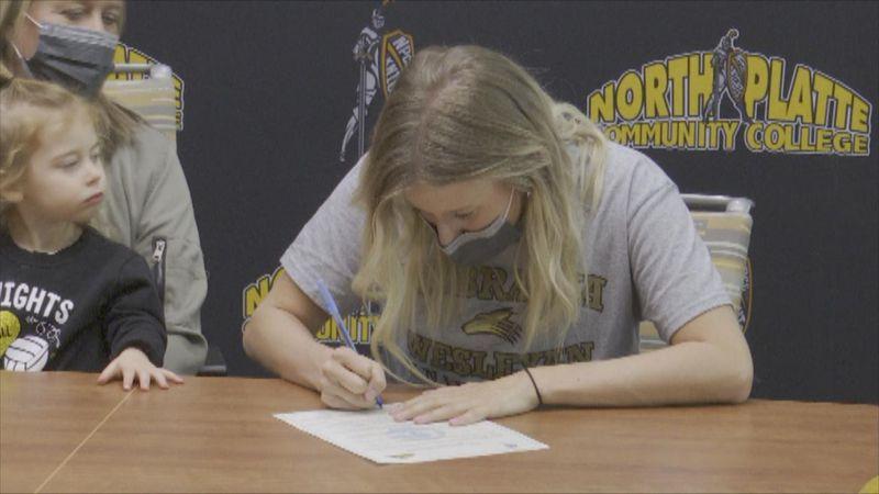 NPCC Volleyball's Erica Hopping is continuing her collegiate career at Nebraska Wesleyan.