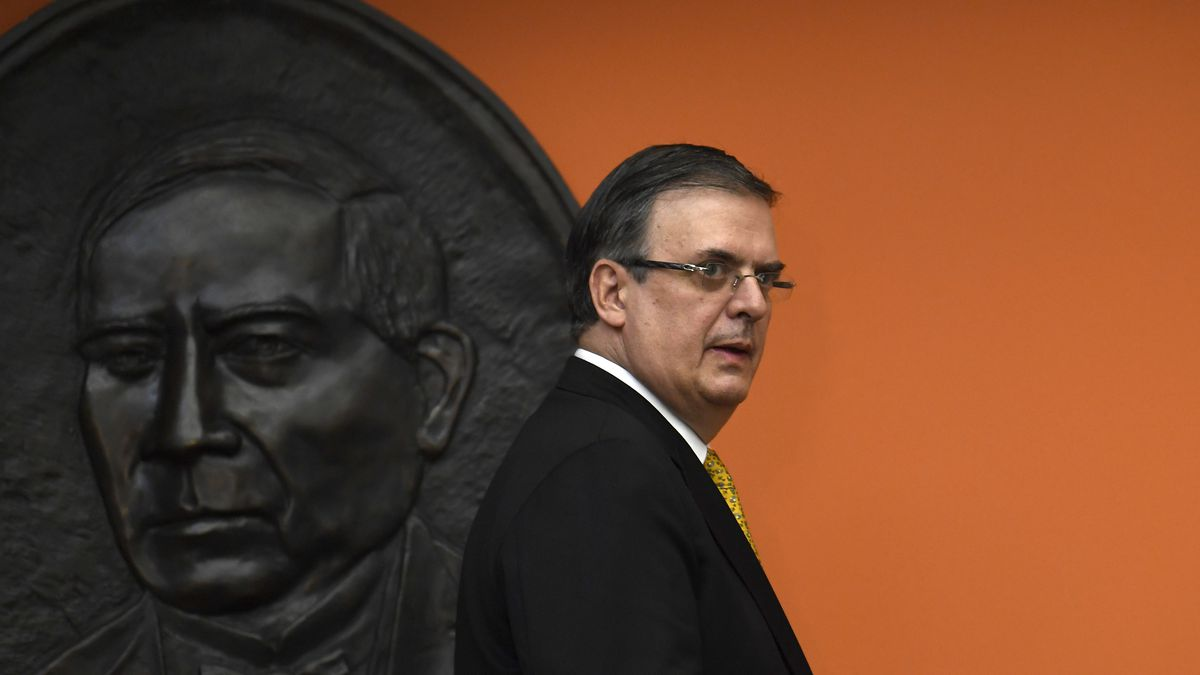 FILE - In this Sept. 10, 2019 file photo, Mexican ​Foreign Minister Marcelo Ebrard walks past a...
