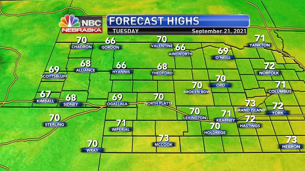 Look for high temperatures in the 60s to low 70s on Tuesday.