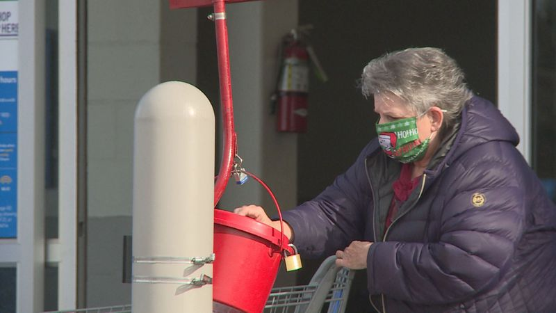 Salvation Army struggles to meet red kettle fundraising goal amid pandemic.