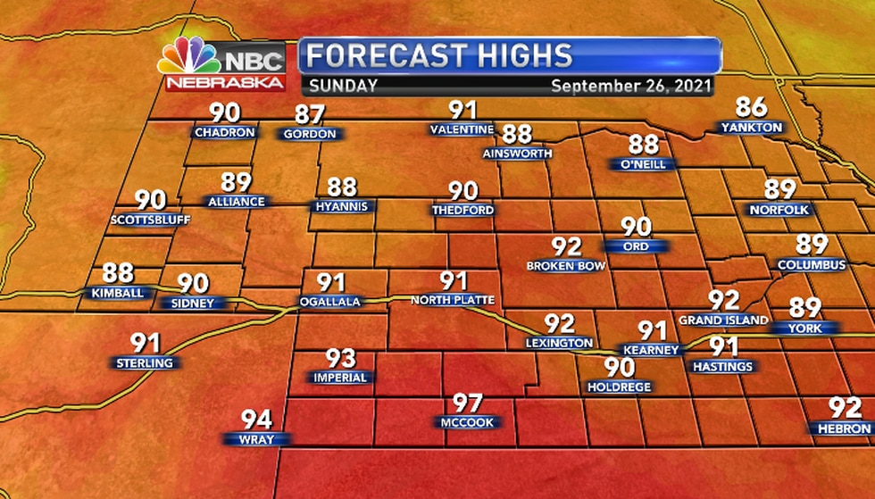 Temperatures pushing into the upper 80s and low 90s regionwide.