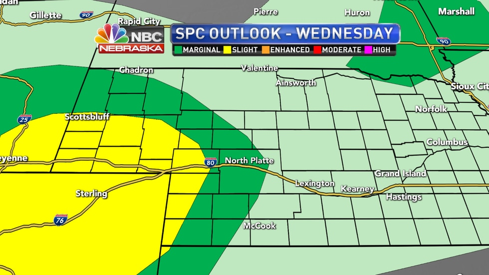 Another upper level disturbance moving through the area will bring the potential for more strong to severe storms across parts of western and southwestern Nebraska on Wednesday afternoon and evening.