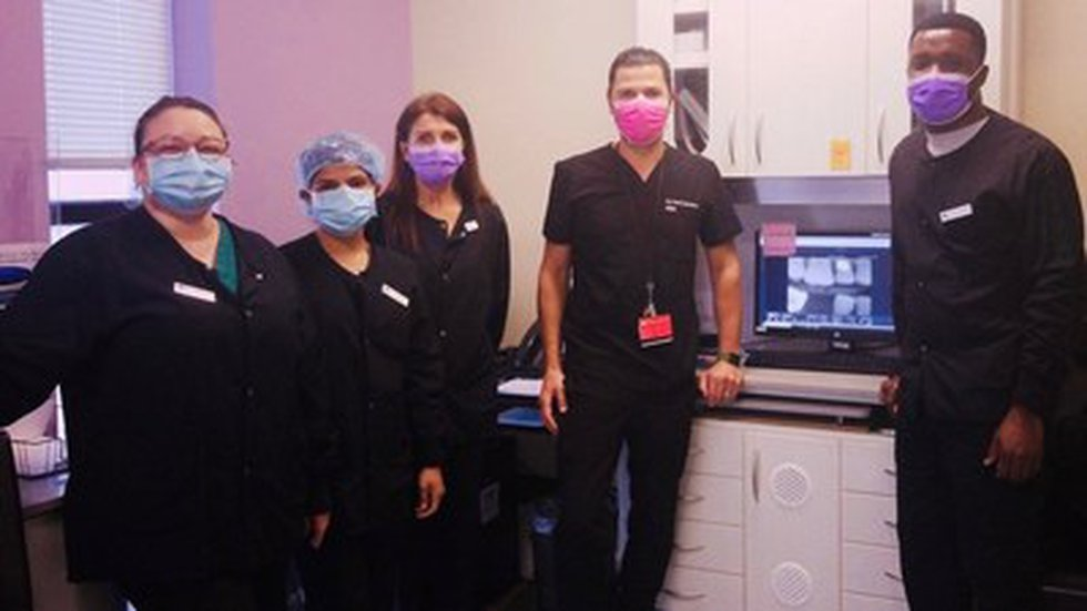 Overjet Clinical Director Dr. Chris Balaban, DMD, training the New England Family Dentistry team.