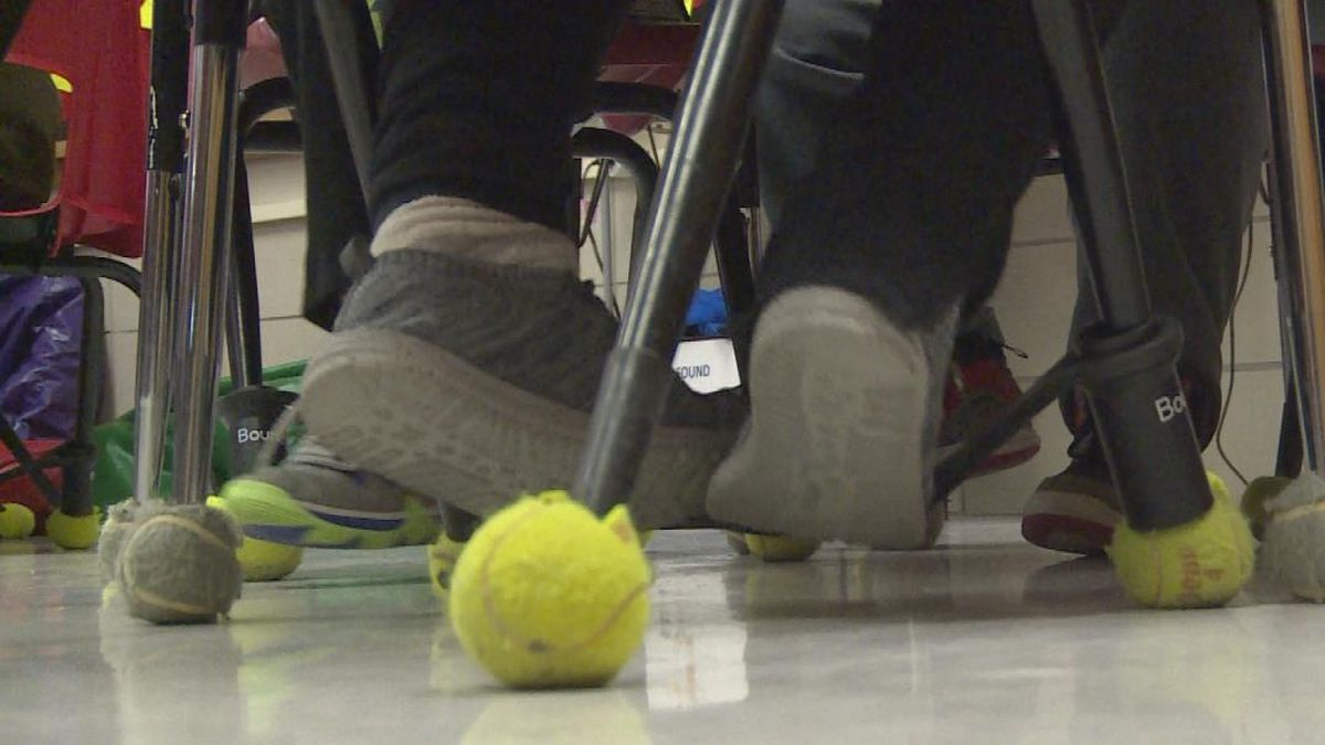 "A local middle school math teacher wanted her students work off nervous energy and concentrate at the same time.  A Mid-Nebraska Community Foundation grant from John Applegate let her buy ""Bouncy Bands."" (SOURCE: Kaylie Crowe/KNOP-TV)"