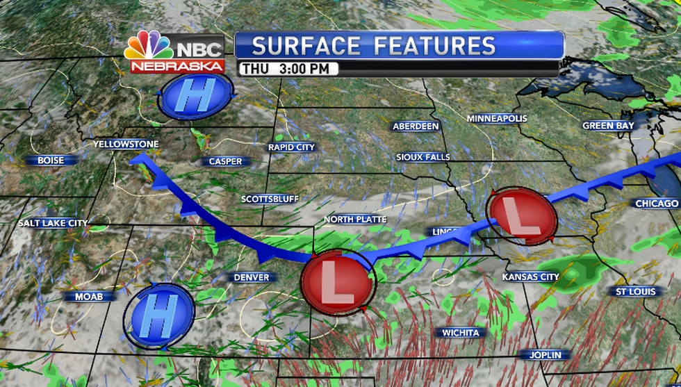 Cold front pushes into Southwest Nebraska during the afternoon... A few evening t'storms are...