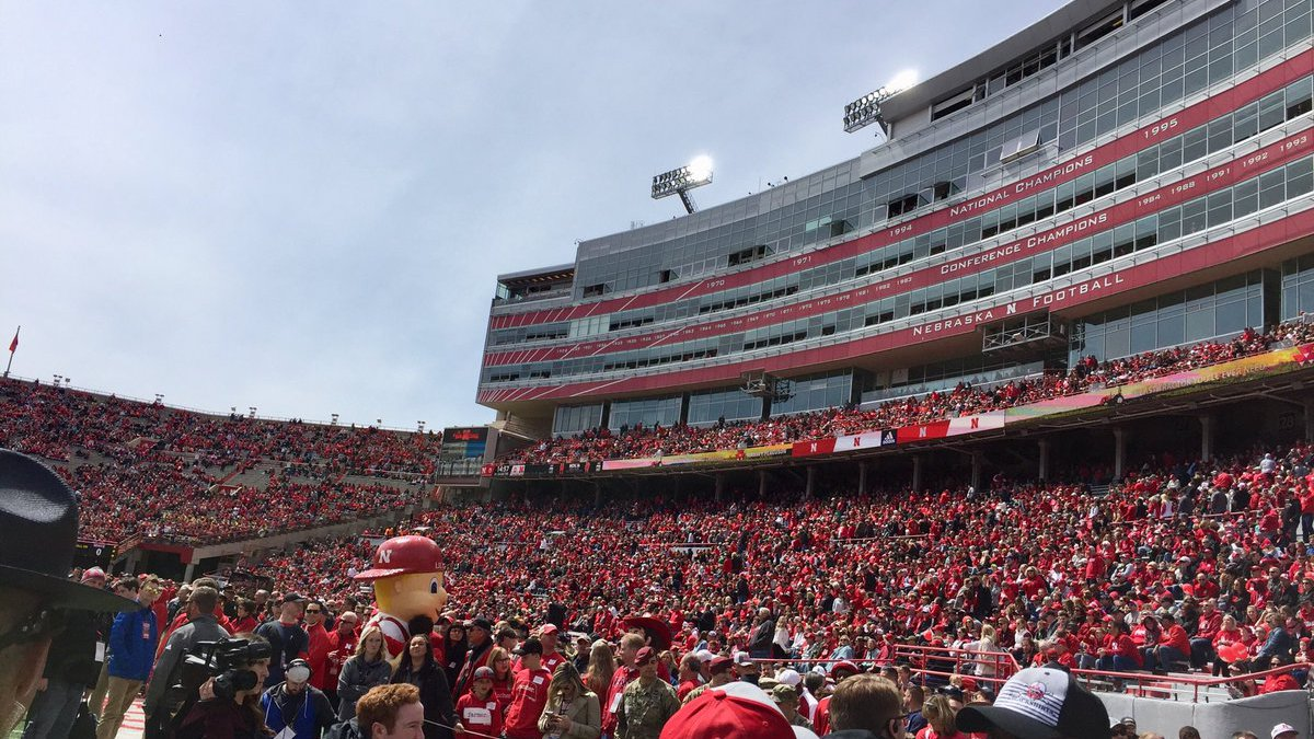 Husker fans fill the west side of Memorial Stadium on Saturday, April 13, 2019, for the...