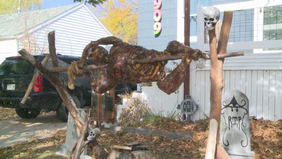 The Roos family make most of their Halloween decorations from scratch.