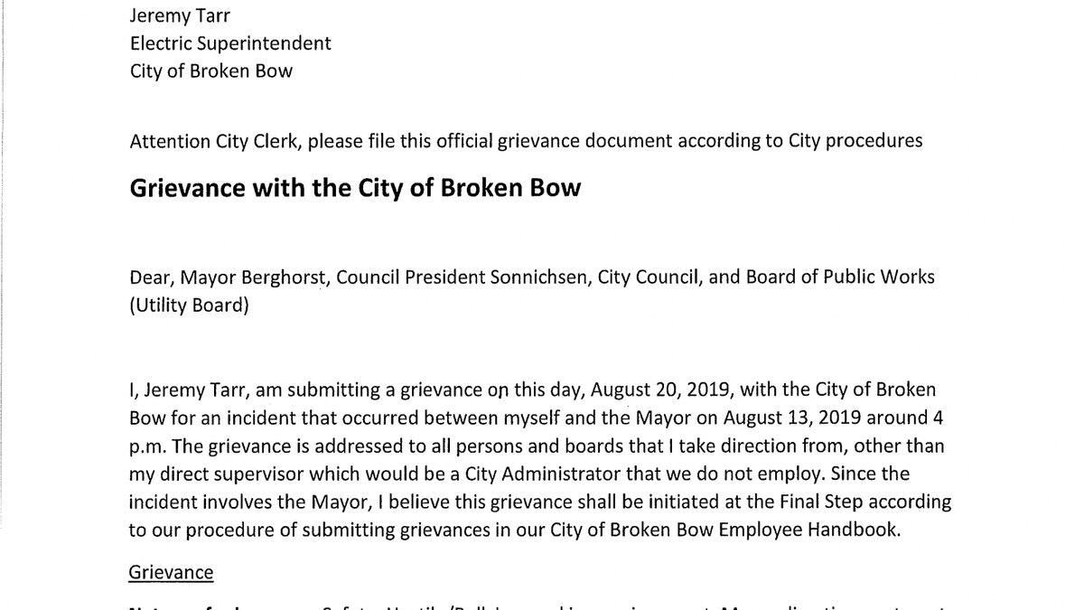 (SOURCE: City Clerk/Broken Bow)