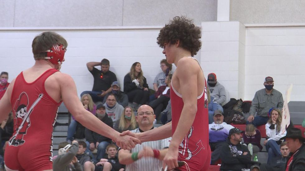 Samuel Foster notched his 100th career pin in his home gym to claim the D-4 138 District title.