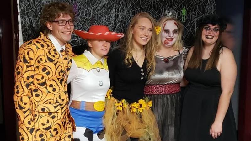 Student Technicians of Veterinary Medicine Association members celebrate at an NCTA Halloween...