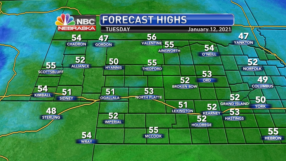 Very mild January weather is expected on Tuesday with highs in the 50s.