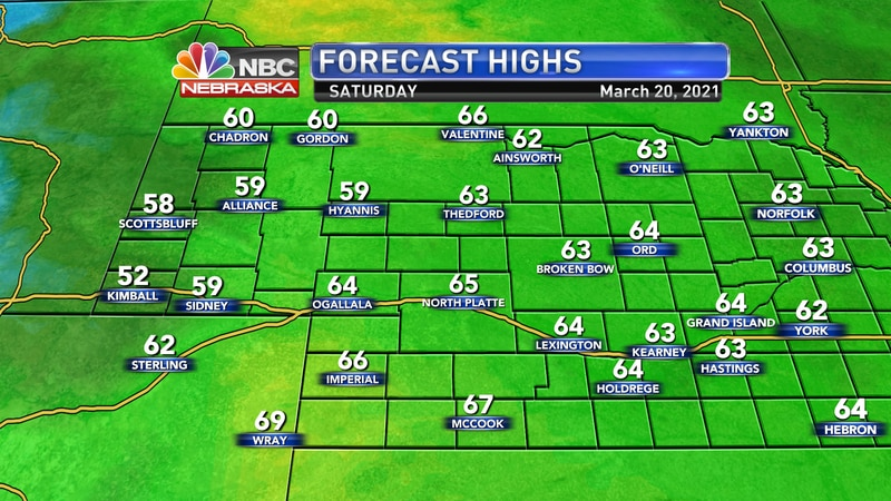 Temperatures will jump back to the 60s on Saturday with mostly sunny skies and strong south...