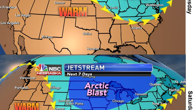 The warm air will go away as much colder air filters in for the weekend.