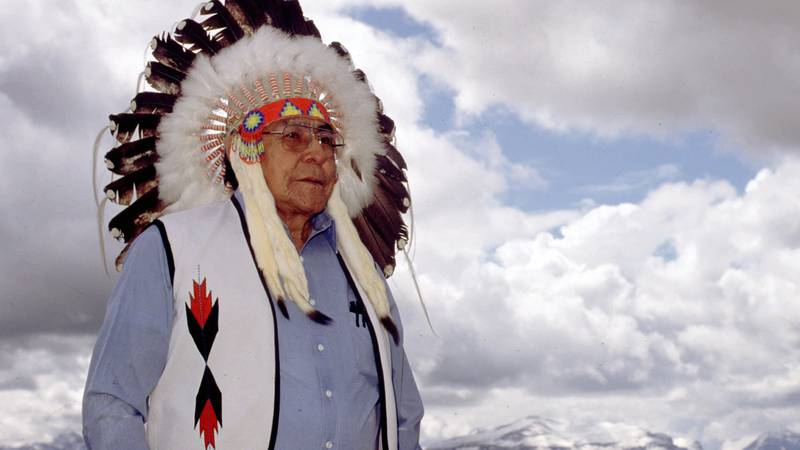 FILE - Earl Old Person, chief of the Blackfeet Nation in Browning, Mt., wears a ceremonial...