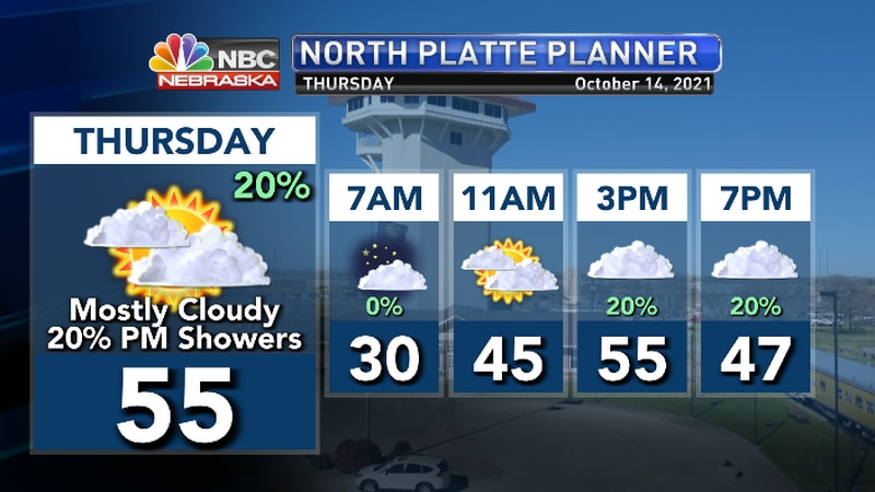 Cool with clouds streaming in.  Slight chance for a late day shower.
